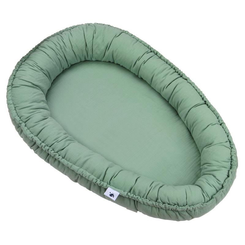 Kuschelnest 'Terra' Musselin grün 80x55cm