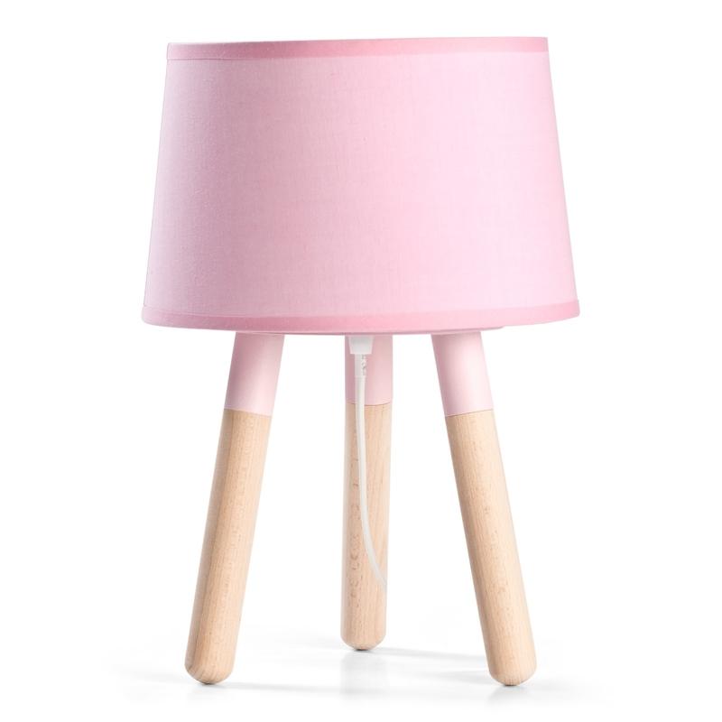 Tischlampe Scandi-Look rosa/natur ca. 32cm