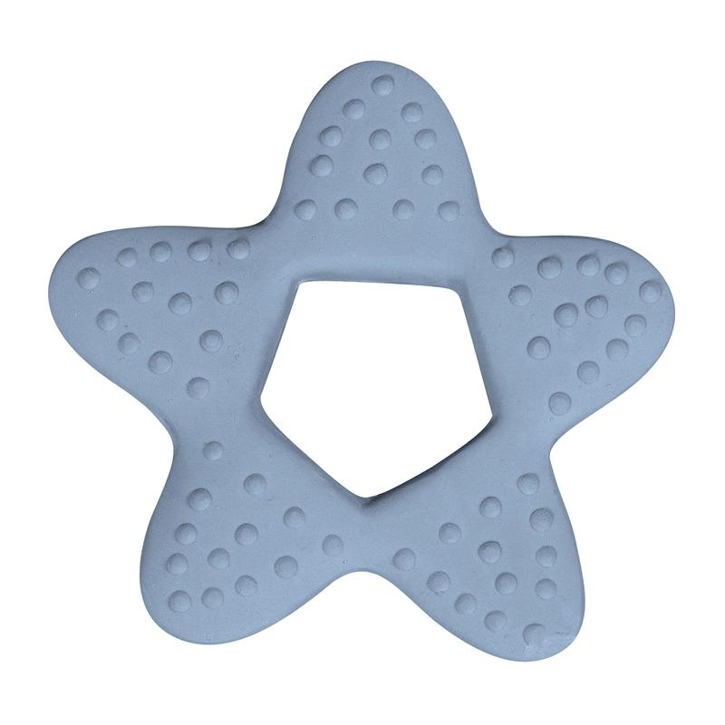 Beißring 'Stern' Naturkautschuk hellblau
