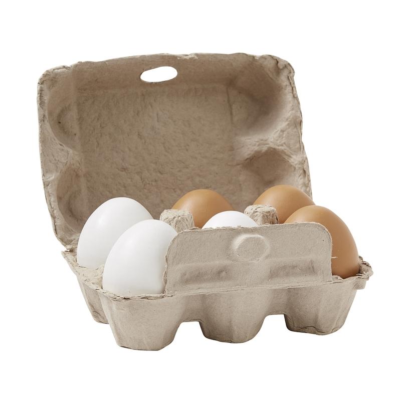 Eierkarton mit 6 Holzeiern natur ab 3 Jahren