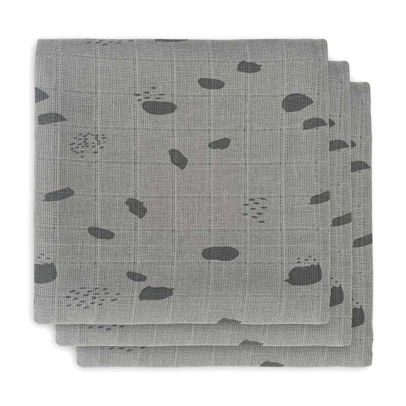 Mulltücher 'Spot' grau 3er Set 70x70cm