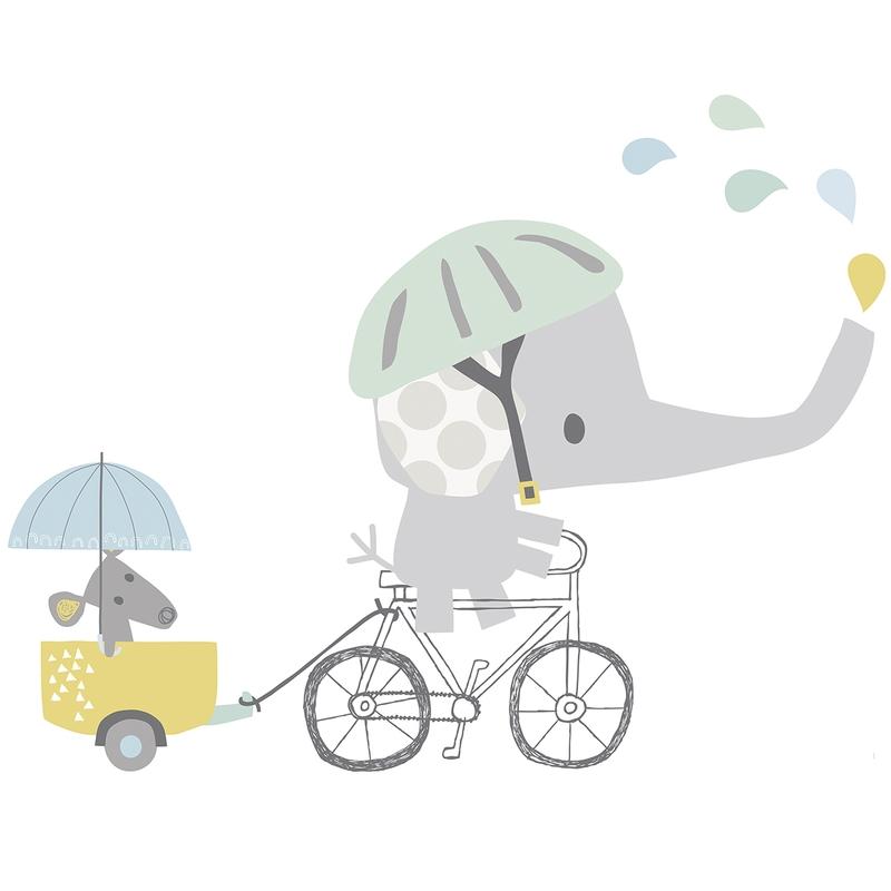 XL-Wandsticker 'Elefant auf Fahrrad' pastell