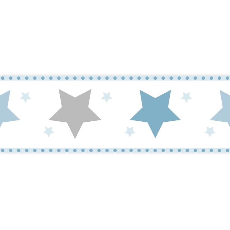 Bordüre 'Sterne' blau/grau selbstklebend