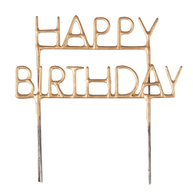 Torten-Wunderkerze 'Happy Birthday' gold 14cm