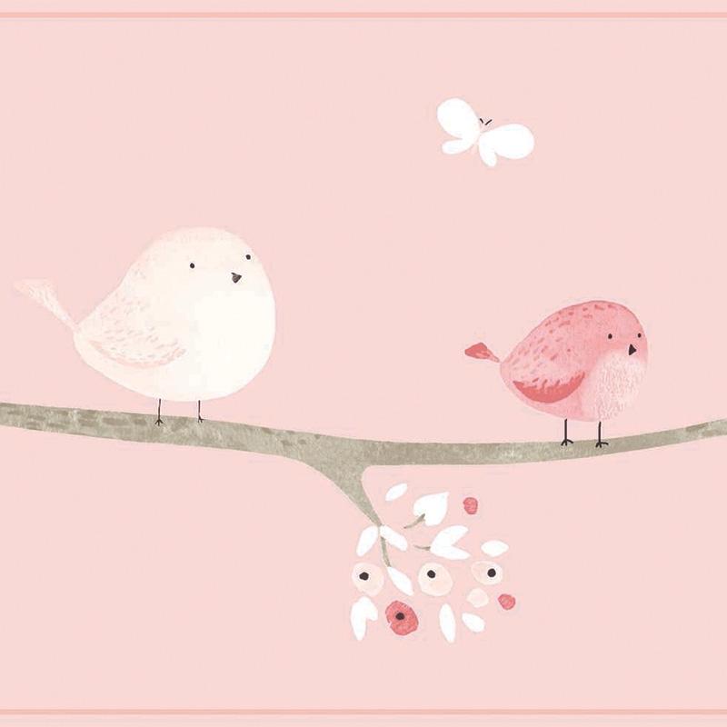 Bordüre 'My Little World' Vögelchen rosa