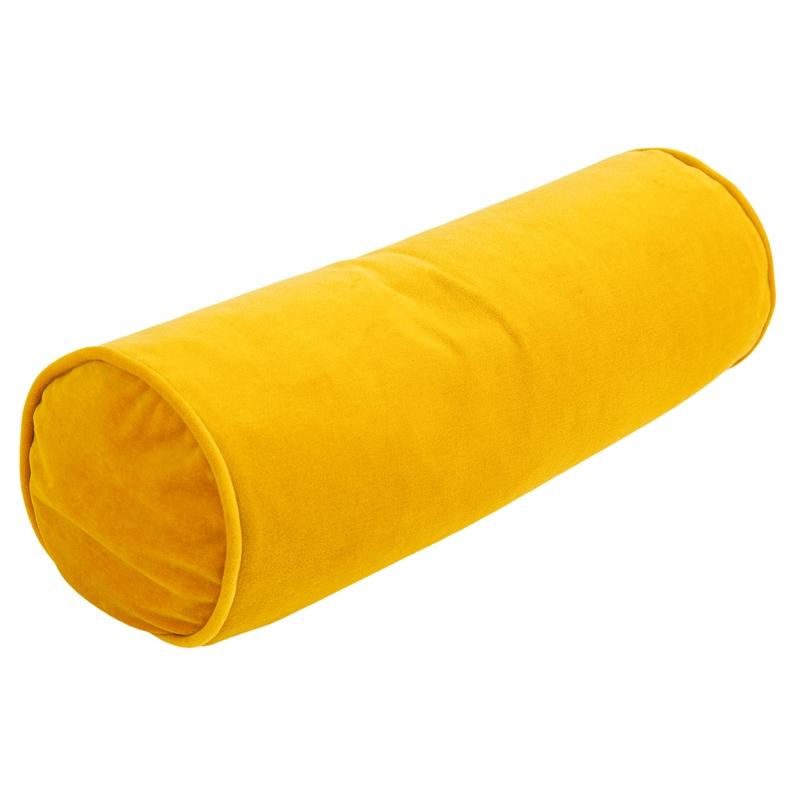 Kissenrolle mit Samtbezug senfgelb 60x20cm