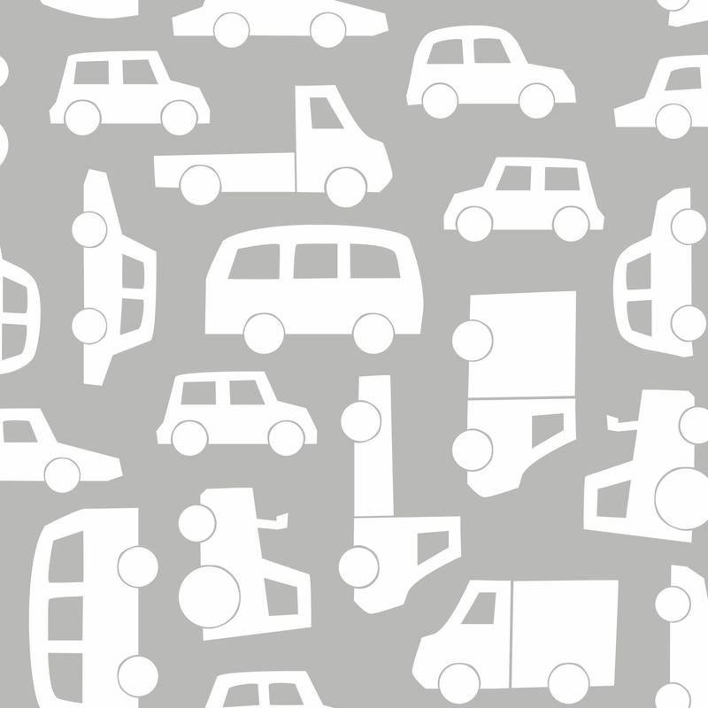 Vliestapete 'Autos' hellgrau/weiß