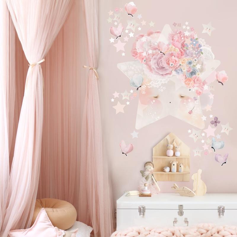 Stoff-Wandsticker 'Stern' rosa/puder