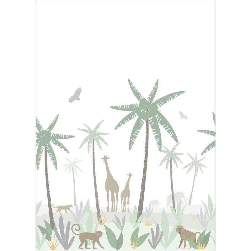 Fototapete 'Dschungel' weiß/grün 200x279cm