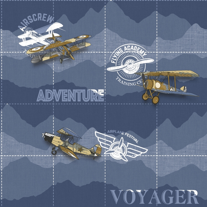 Vliestapete 'Flugzeuge' dunkelblau/gold