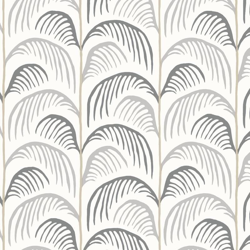 Vliestapete 'Mini Me' Blätter grau/beige