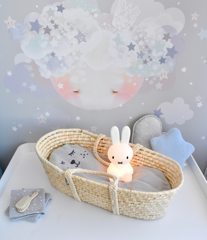 Babyzimmer mit Mond-Wandsticker in Grau & Blau