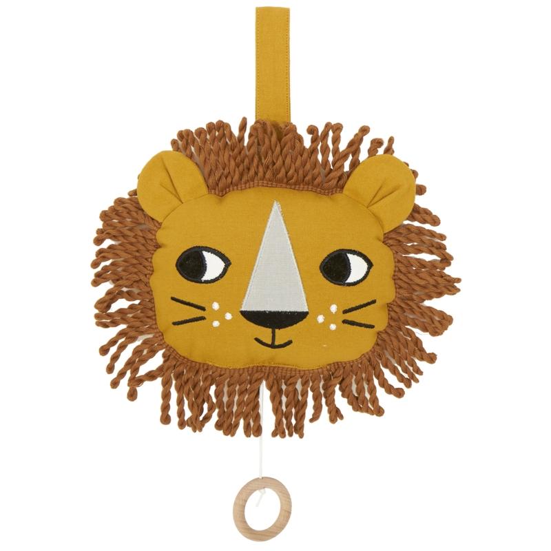 Bio Spieluhr 'Löwe' bestickt senfgelb