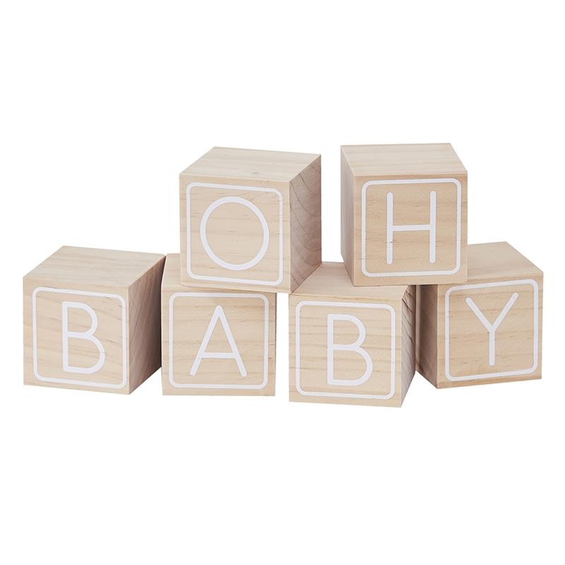 Holzwürfel 'Oh Baby' natur/weiß je 6cm
