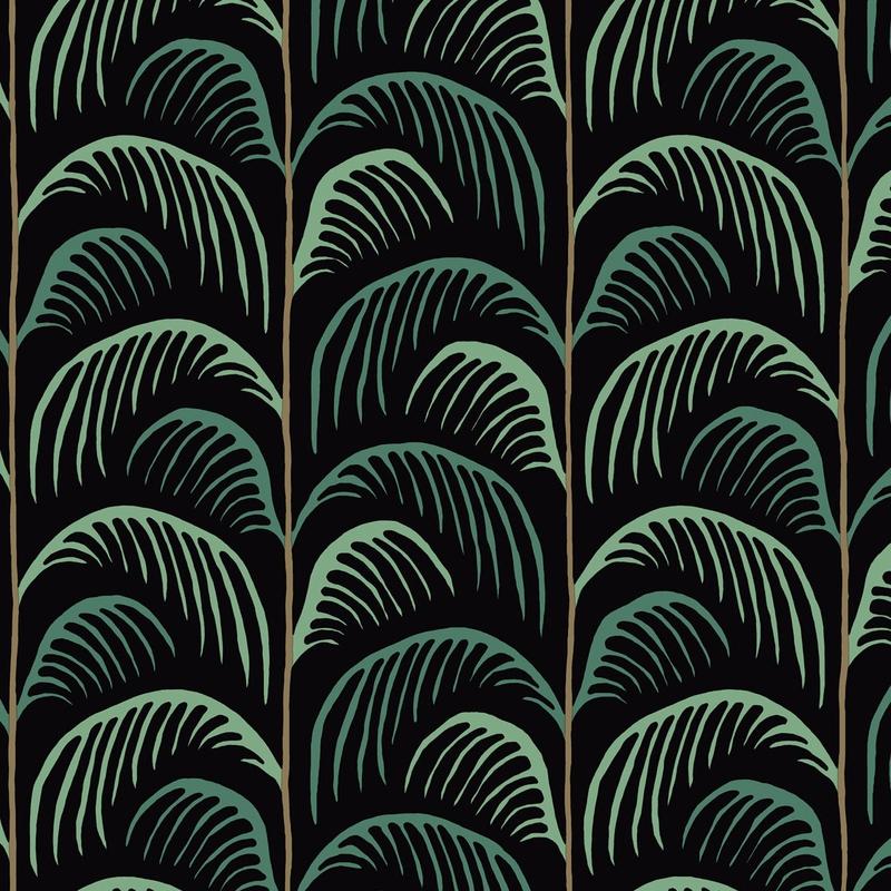 Vliestapete 'Mini Me' Blätter schwarz/grün