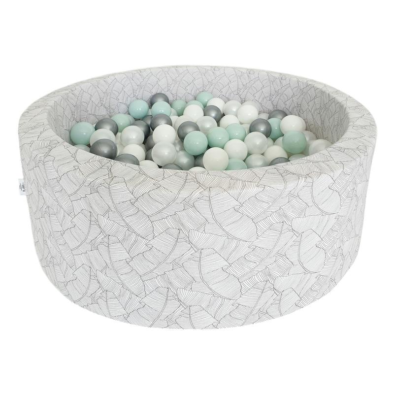 Bällebad mit Blattmuster mint/perlmutt
