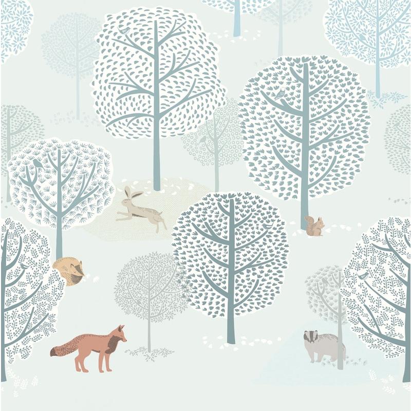 Fototapete 'Mini Me' Wald mit Tieren mint