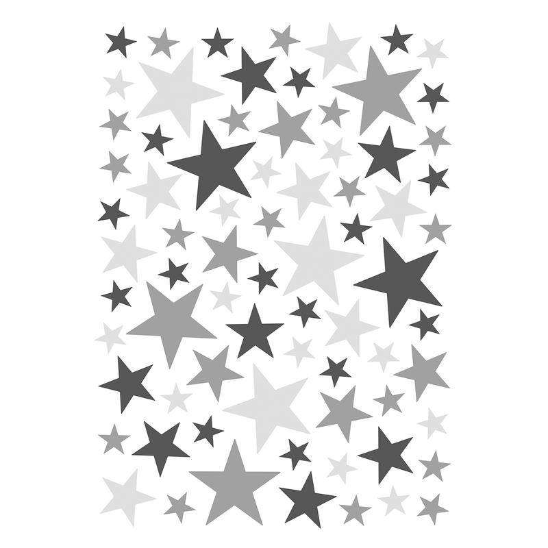 Wandsticker 'Basic Sterne' grau 74-tlg.