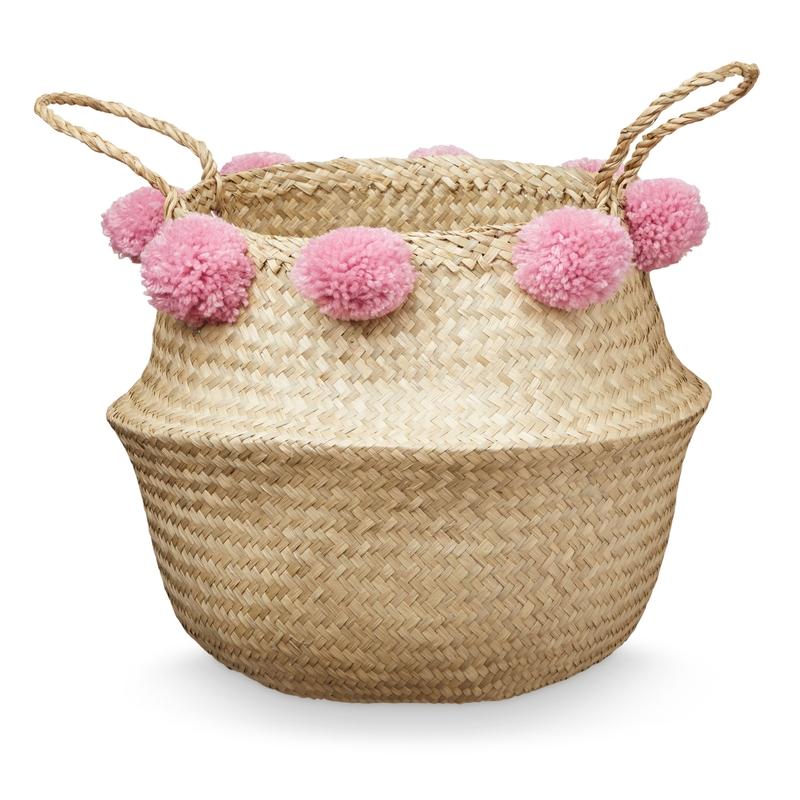 Aufbewahrungskorb mit Pompons natur/rosa