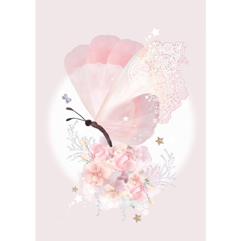 Poster mit Blattgold 'Blumenschmeterling' rosa
