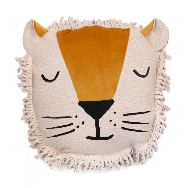 Bio Kissen 'Löwe' aus Samt senfgelb ca. 35cm
