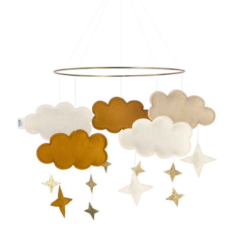 Mobile 'Wolken' Filz senfgelb/gold