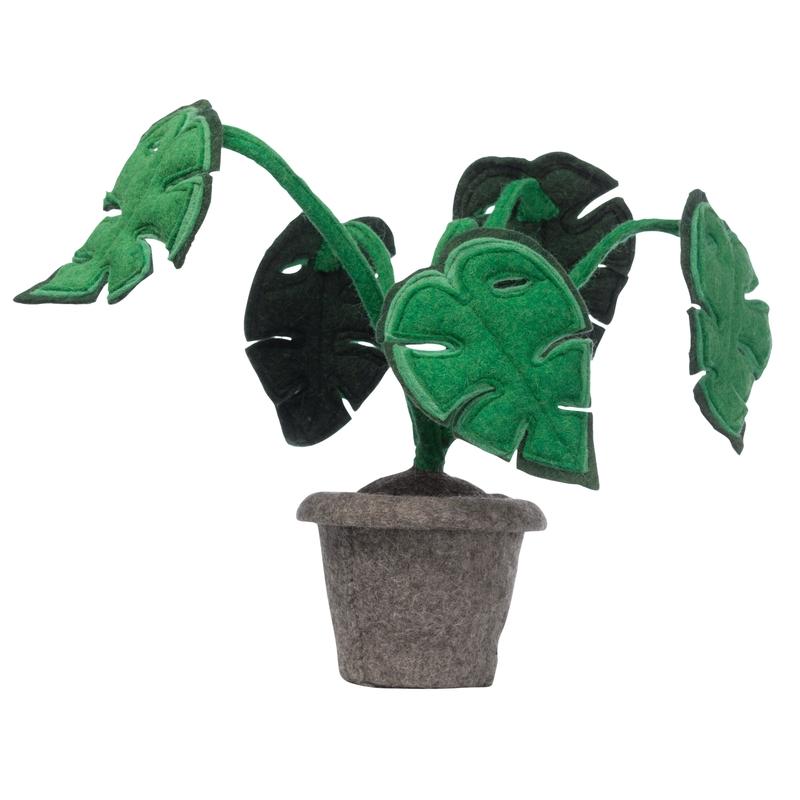 Dekopflanze 'Monstera' Filz grün 45cm
