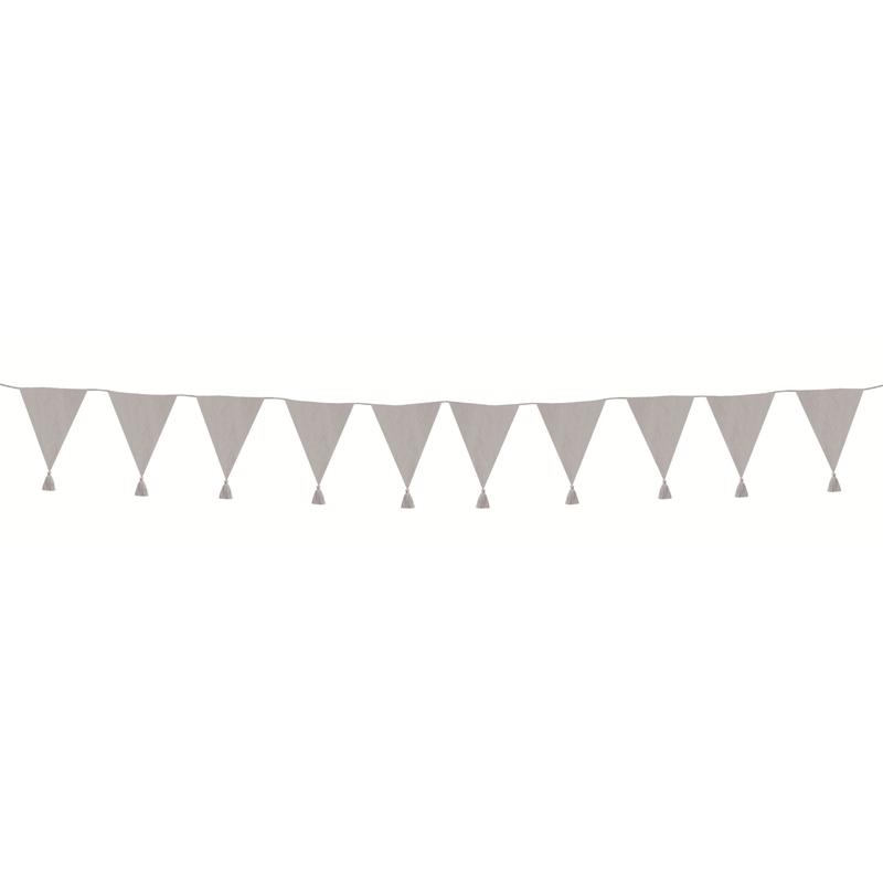 Wimpelkette mit Quasten grau 400cm