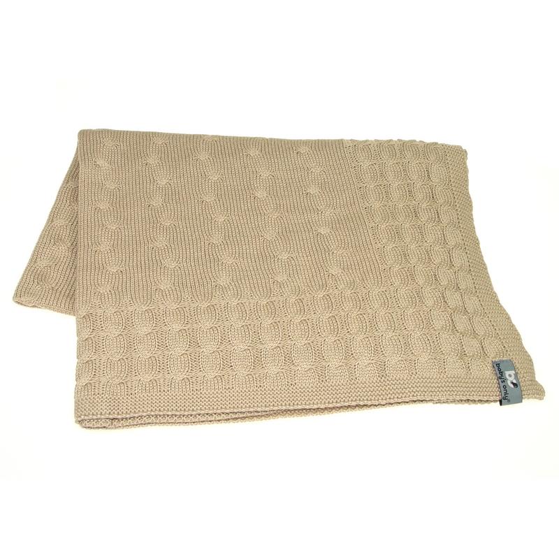 Strickdecke 'Zopf uni' beige 90x75cm