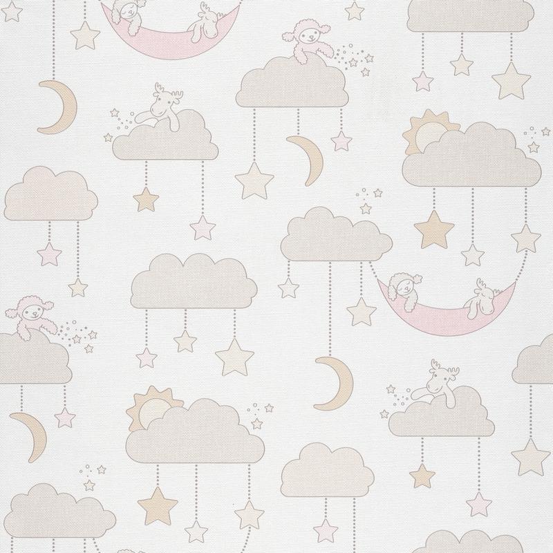 Tapete Wolken/Tierchen beige/rosa 'Jack 'N Rose 2'