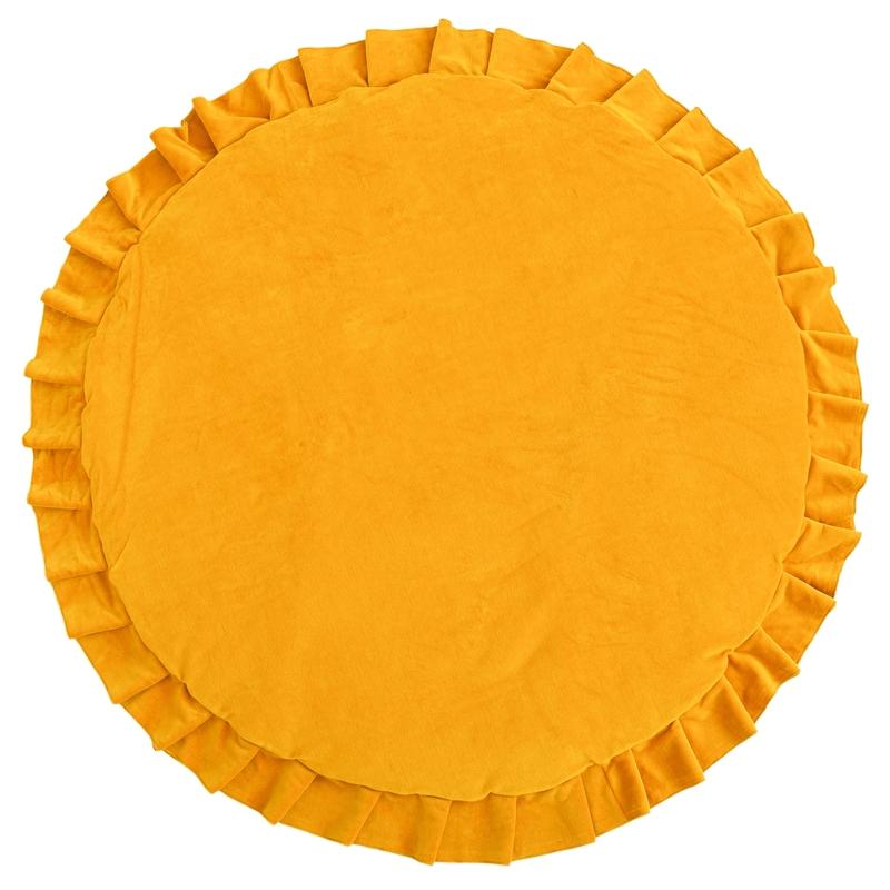 Spielmatte mit Rüschen Samt senfgelb 110cm
