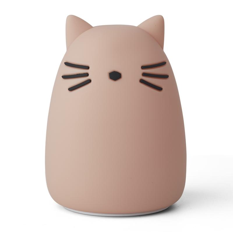 Nachtlicht 'Katze' Silikon altrosa ca. 14cm