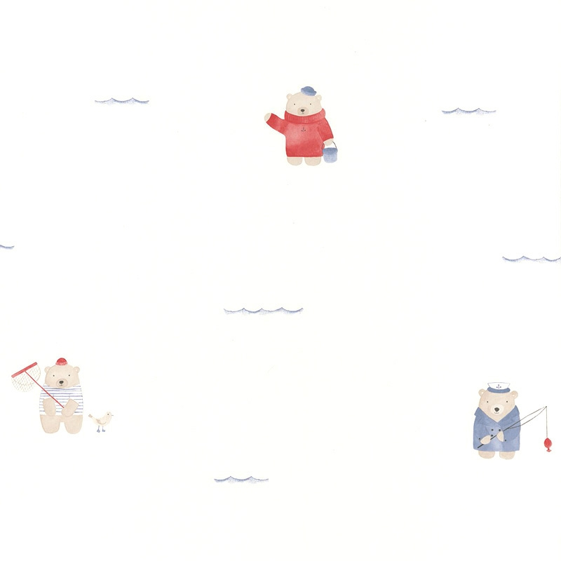 Tapete 'My Little World' Strandbären blau