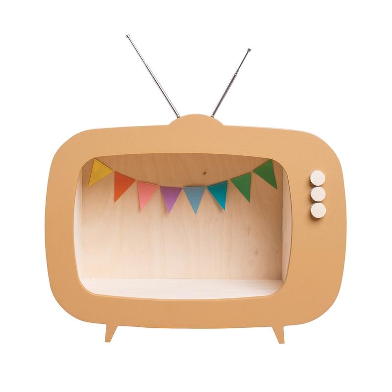 Regal 'Fernseher' senfgelb 40cm handmade
