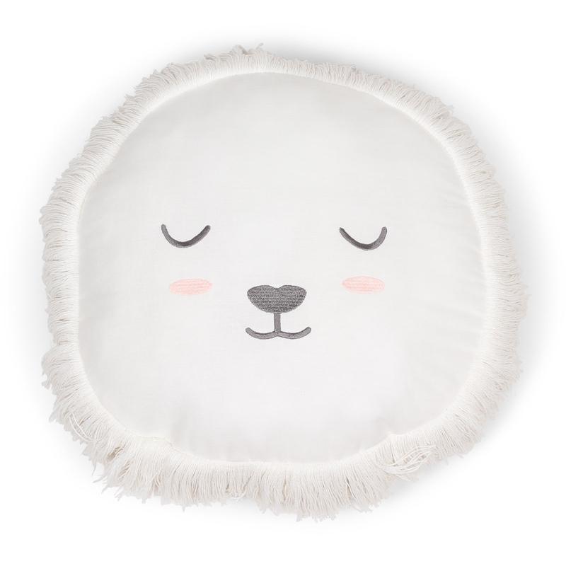 Kissen 'Löwe' bestickt cremeweiß 30cm