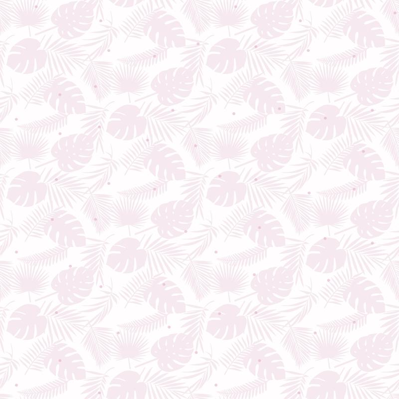 Tapete 'Blätter' weiß/puderrosa