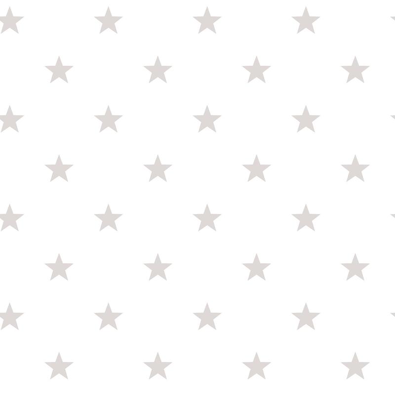Vliestapete 'Sterne' weiß/hellgrau