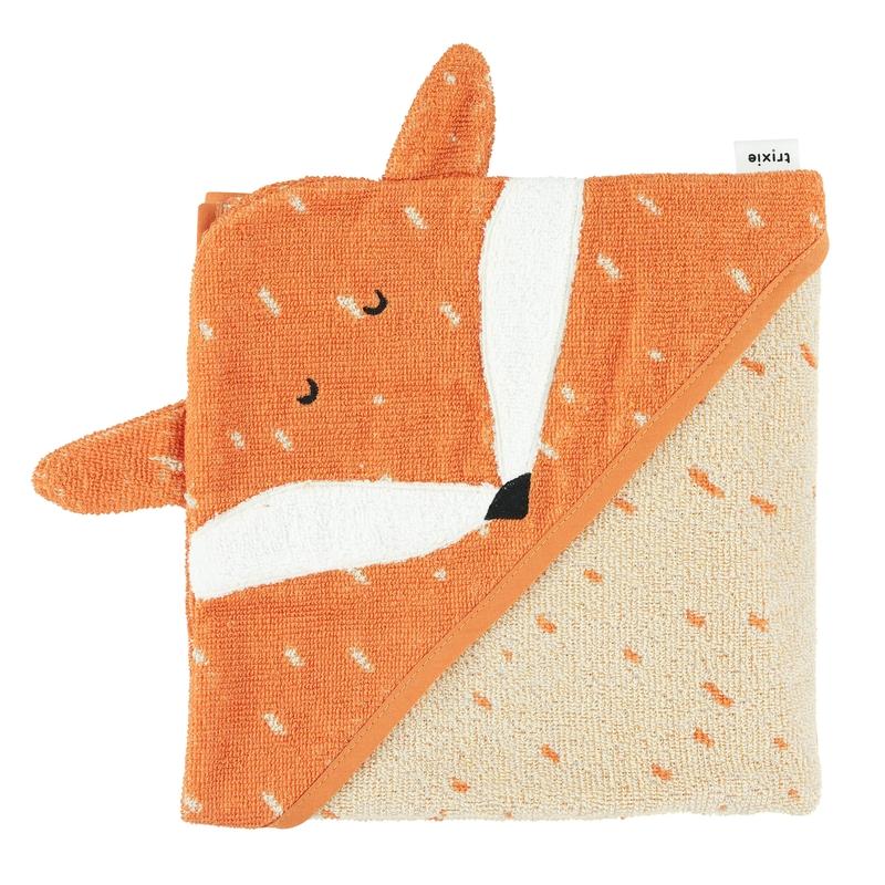 Bio Kapuzenhandtuch 'Fuchs' orange 75x75cm