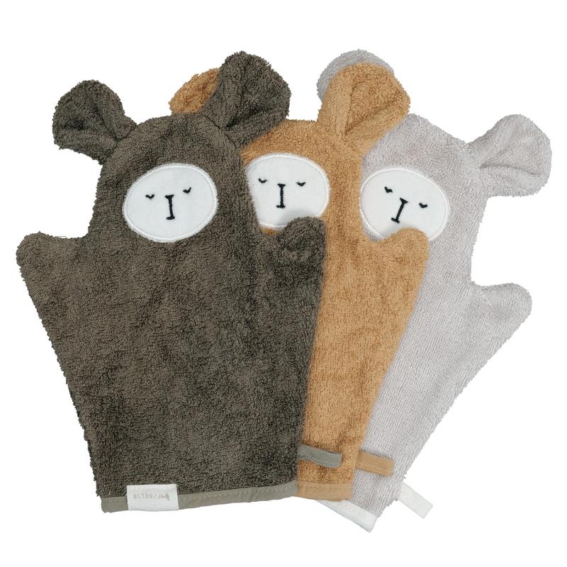 Waschlappen 'Bär' khaki/camel 3er Set