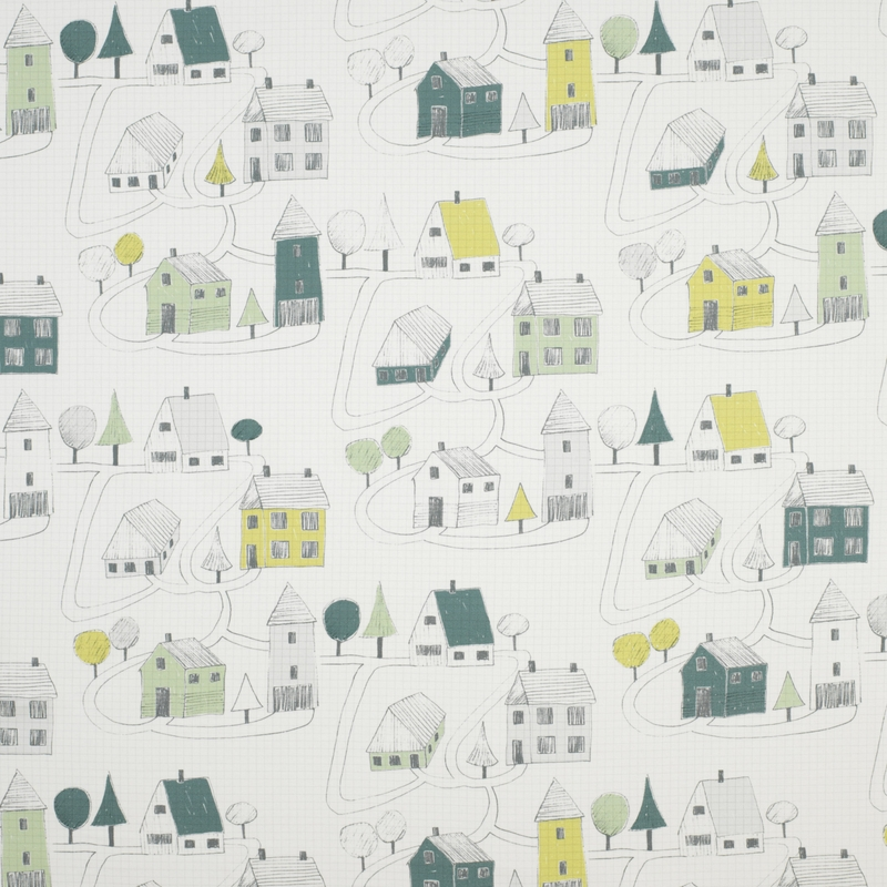 Stoff 'Happy Dreams' Stadt mint/gelbgrün