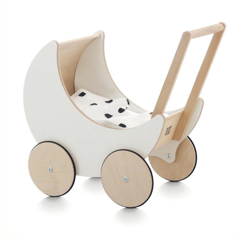Puppenwagen aus Holz natur/weiß ab 2 Jahren