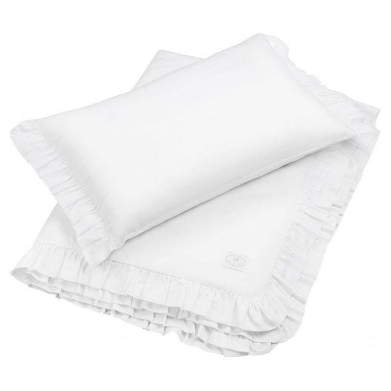 Bettwäsche mit Rüschen weiß 100x135cm