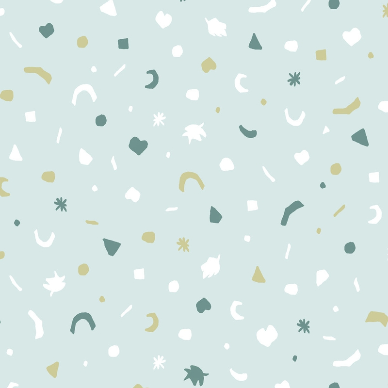 Vliestapete 'Mini Me' Mosaik mint/senfgelb
