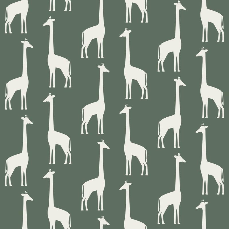 Vliestapete 'Giraffen' dunkelgrün/weiß