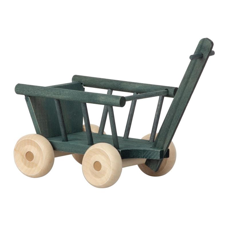 Bollerwagen für kleine Puppen grün 5cm (Micro)