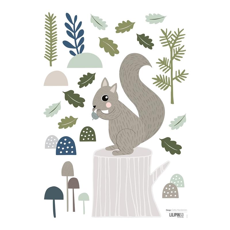 Wandsticker 'Eichhörnchen' grau/grün