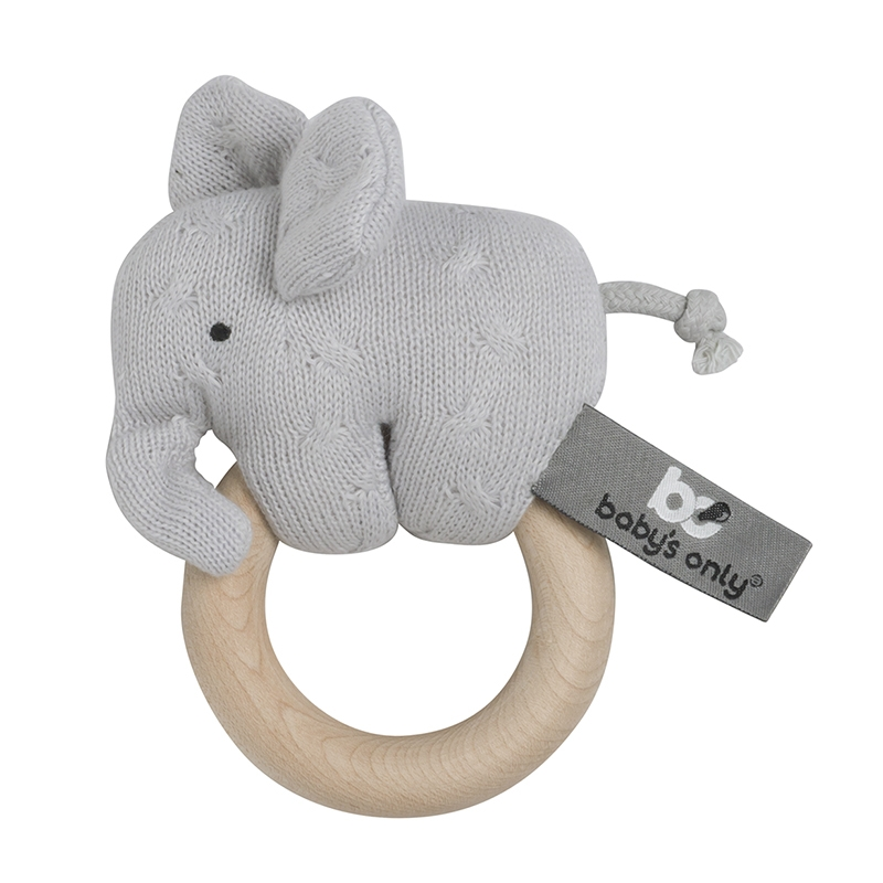 Greifling Elefant 'Zopf' Holz/Strick grau