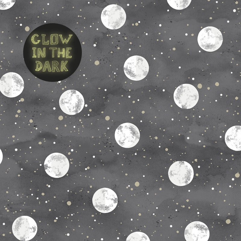 Tapete 'Mini Me' Mond' anthrazit nachtleuchtend