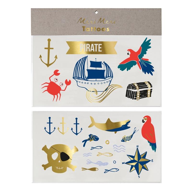 Kinder-Tattoos 'Pirat' blau/rot/gold glänzend