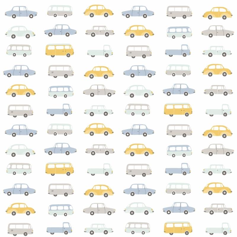 Stoff 'Happy Dreams' Autos rauchblau/ocker